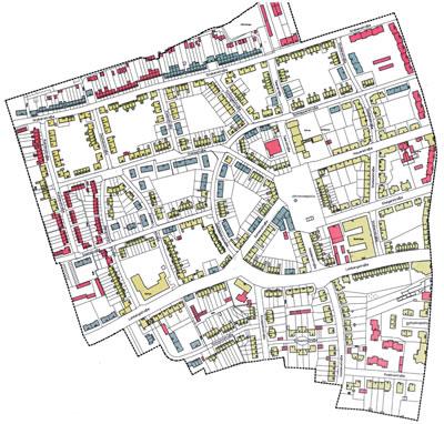 <p><strong>3.</strong> Dinslaken Lohberg Fabrika Yerleşkesi Koruma Planı. Sarı renkle gösterilen yapılar  iyi korunmuş, maviler nötr, kırmızılar ise az korunabilmiş. Bu görselden de  anlaşılacağı üzere işçi yerleşkesi karakteristik özelliklerini büyük ölçüde  kaybetmemiş durumda.<br />Kaynak: RAG, MI Arşivi. </p>
