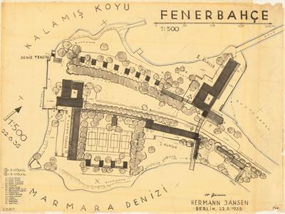 <p><strong>3.</strong> Fenerbahçe  Yarımadası spor ve rekreasyon merkezi (Sport- und Erholungsstätte auf der Halbinsel Fener  Bahce/Türkei) projesi,  Hermann Jansen, 22 Haziran 1935. <br />   Kaynak:  TU Berlin Architekturmuseum, Inv. Nr. 23401</p>