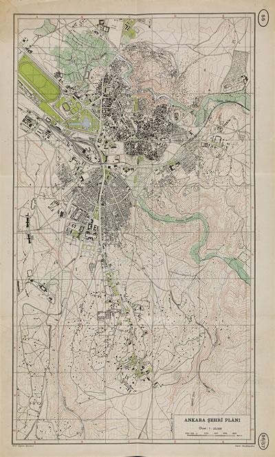 <p><strong>3.</strong> Yeşil aksların görülebileceği harita,  1940 lar</p>