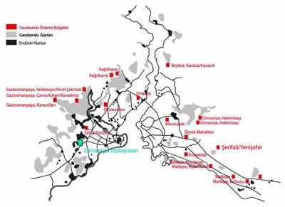 """<p><strong>3.</strong> 1960-1980 döneminde İstanbul da endüstriyel alanlar, kaçak konut yerleşimleri  ile gecekondu önleme bölgelerinin konumları ve Tozkoparan <br />   Kaynak: İstanbul 1910-2010  Sergisi Kataloğu ve Zekai Görgülünün 1982 tarihli """"İstanbul Metropoliten  Alanında Gecekondu Önleme Bölgelerinin Mekansal Konumları ve Fizik Mekan  Çözümlemeleri"""" doktora çalışması bu haritaya kaynak oluşturmuştur.</p>"""