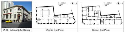 <p><strong>3. </strong>Ziraat Bankası Adana Şube Binasının fotoğrafı ve kat  planları<br />   Kaynak:  Fotoğraf yazara aittir, planlar ise 2T Mimarlık firmasının hazırlamış olduğu  rölöveler esas alınarak yazar tarafından düzenlenmiştir.</p>