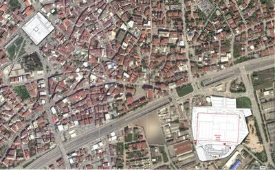 <p><strong>3.</strong> Hyatt House ve Çoban Mustafa Paşa Külliyesinin plan düzleminde ilişkisi</p>