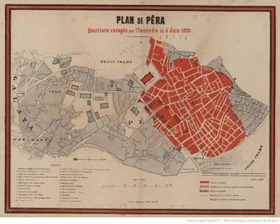 <p><strong>3. </strong>Mandouce tarafından 1870 yılında basılmış olan, yangın  alanını ve bulvar önerisinin taslağını kabaca işaretlenmiş olduğu Pera haritası<br />   Kaynak: URL1.<strong></strong></p>