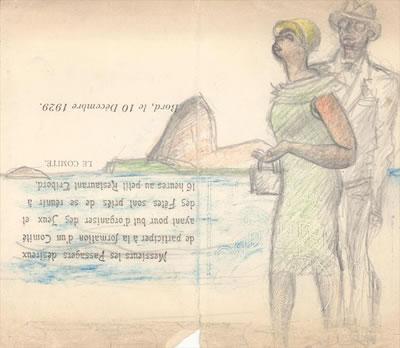 <p><strong>3.</strong> Josephine Baker ile beraberliğini resmettiği sulu ve kuru boya  resim, 1929</p>