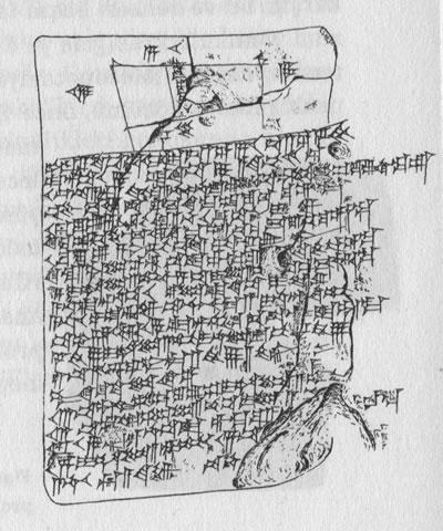 <p><strong>3.</strong> Kil tablet çizimi. Milattan önce II.binyıl başı, Mezopotamya. Gerçekçi  geometrik problemlerin aritmetik problemler üretmek için kullanıldığı bir  matematik çalışması tableti. Yamuk biçimli bir tarlanın aynı yüzölçümüne sahip  iki eşit parçaya bölünmesi problemi. <br /> Kaynak: Bordreuil, Pierre, Briquel-Chatonnet,  Françoise, Michel, Cecile, 2015, <strong>Tarihin Başlangıçları</strong>, (çev.) Levent  Başaran, ALFA, İStanbul.</p>