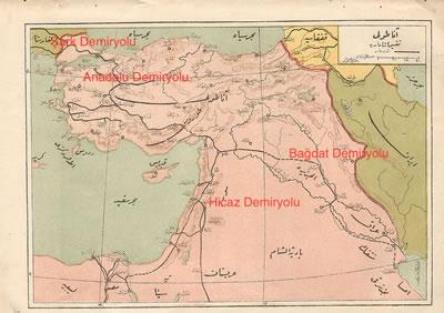 <p><strong>3.</strong> Osmanlı dönemi  demiryollarımız. Ağaç modelinin dört ana hattı: Şark Demiryolu, Anadolu  Demiryolu, Bağdat Demiryolu, Hicaz Demiryolu. (Türkçe metinler harita üzerine yazar  tarafından eklenmiştir) <br /> Kaynak:  Atatürk Kitaplığı: Htr_Gec_00063, Public Domain, https://commons.wikimedia.org/w/index.php?curid=59344276</p>