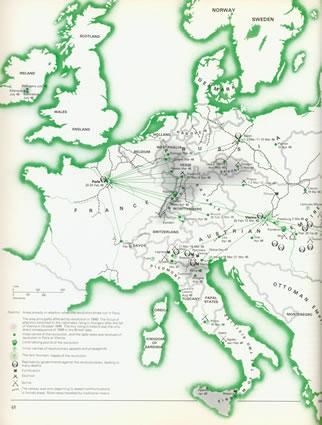 <p><strong>3.</strong> 1848 Avrupasında birbirini  tetikleyen, etkileşimli olarak birbirine ilham veren, kent ayaklanmaları<br />(Kaynak: Wheatcroft,1983)</p>