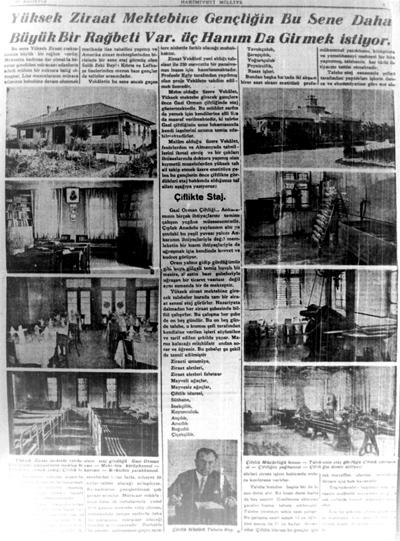 <p><strong>Resim 3. </strong>Çiftlik'te modern ziraat eğitimi, 16  Ağustos 1932, Hâkimiyet-i Milliye. </p>