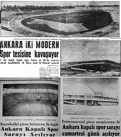 <p><strong>3.</strong> <em>Milliyet </em>gazetesindeki  23.07.1957, 15.10.1957 ve 19.10.1957 tarihli üç haber<br />Kaynak: <strong>Milliyet</strong>, 23.07.1957, &ldquo;Ankara İki Modern Spor Tesisine Kavuşuyor&rdquo;; <strong>Milliyet</strong>, 15.10.1957, &ldquo;Beynelminel  güreş turnuvası ile bugün Ankara Kapalı Spor Sarayı Açılıyor&rdquo;; <strong>Milliyet</strong>, 19.10.1957, &ldquo;Enternasyonel  Güreş Şampiyonası ile Ankara Kapalı Spor Sarayı Cumartesi Günü Açılıyor&rdquo;.</p>