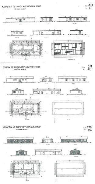 <p><strong>3. </strong>Kerpiç, taş ve ahşap  alternatifleriyle çizilen üç sınıflı köy okulu.<br />  Kaynak: 1933,<strong> İlkmektep Planları Albümü</strong><br />