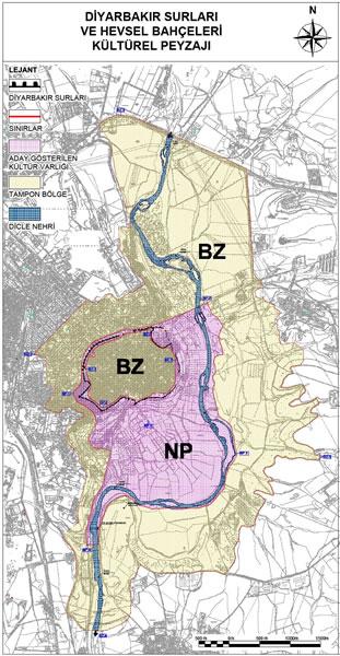 <p><strong>3.</strong> 2015 Yılında Dünya Mirası olarak  kabul edilen Diyarbakır Kalesi ve Hevsel Bahçeleri Kültürel Peyzajı, NP:  Nominated Property (Aday Gösterilen Kültür Varlığı), BZ: Buffer Zone (Tampon  Bölge) <br />  Kaynak: whc.unesco.org/en/list/1488/documents/ [Erişim: 01.04.2016] </p>