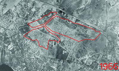 <p><strong>3.</strong> Fikirtepe 1966 yılı hava fotoğrafı ve dönüşüm alanı sınırları; alandaki ilk  gecekondu yapılaşmaları<br />  Kaynak: İBB Haritaları  derlenerek Dinçer Aydın tarafından çizilmiştir.</p>