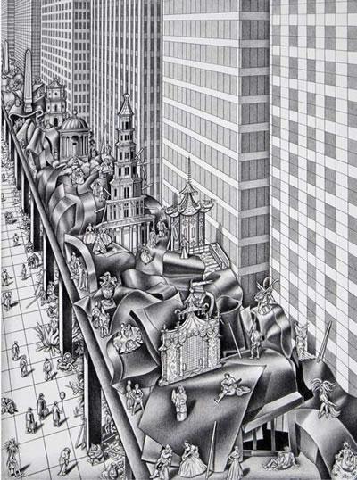 <p><strong>3a. </strong>Eleştirel  düşünme ile davranış eşgüdümü: Paradokslar dünyasına bakış. <br />  Kaynak: Franck, Karen A., 1996, <strong>Nancy Wolf: Hidden Cities, Hidden Longings</strong>, Academy Editions.</p>
