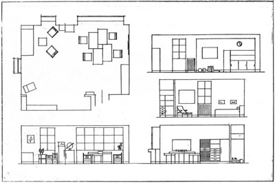 """<p><strong>3a. </strong>Dekoratör Nizami  Beyin <em>Arkitekt</em> dergisinde yayınlanan  ve 4 mimarın çalışma ofisi olarak düşünülen proje çizimleri<strong></strong><br />  Kaynak: Nizami Bey, 1932,  """"Dahilî Mimari"""", <strong>Arkitekt</strong>, sayı:5  (17), ss.145-146.</p>"""