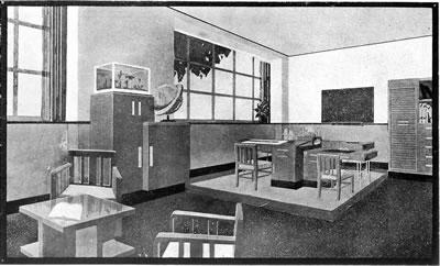 """<p><strong>3b. </strong>Dekoratör Nizami  Beyin <em>Arkitekt</em> dergisinde yayınlanan  ve 4 mimarın çalışma ofisi olarak düşünülen proje çizimleri<strong></strong><br />  Kaynak: Nizami Bey, 1932,  """"Dahilî Mimari"""", <strong>Arkitekt</strong>, sayı:5  (17), ss.145-146.</p>"""