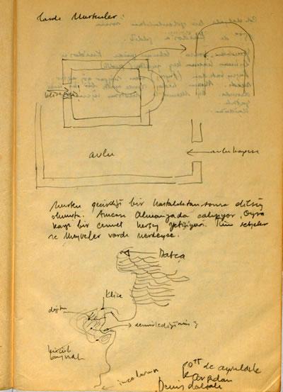 <p><strong>3b.</strong> 1978 yılında Cengiz Bektaşın yönettiği Mavi Yolculuktan  çizimler ve notlar.<br />   Kaynak:  SALT Araştırma, Cengiz Bektaş Arşivi.</p>
