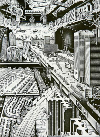 <p><strong>3c. </strong>Eleştirel  düşünme ile davranış eşgüdümü: Paradokslar dünyasına bakış. <br />  Kaynak: Franck, Karen A., 1996, <strong>Nancy Wolf: Hidden Cities, Hidden Longings</strong>, Academy Editions.</p>
