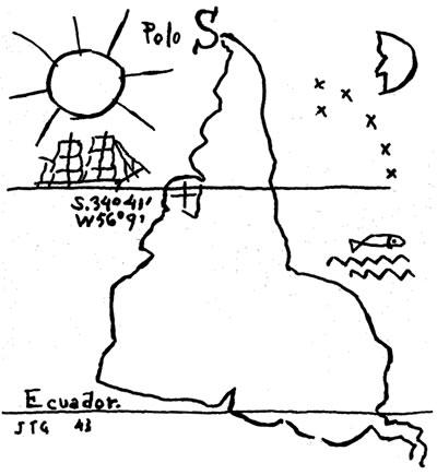 "<p><strong>4.</strong> Provokatif bir eylem olarak  haritalama: Joaquin Torres-Garcia, Ters Güney Amerika ""Upside down map"", 1943.<br />   Kaynak: Harmon, 2004, s.133.</p>"
