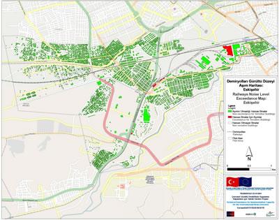 <p><strong>Şekil 4. </strong>Hesaplanan gürültü seviyelerinin CadnaA ortamında 3D  görünümü.<br /> Kaynak:  Çevre ve Şehircilik Bakanlığı için hazırlanan Eskişehir Pilot Alanı Gürültü  Haritalama Raporundan alınmıştır.</p>