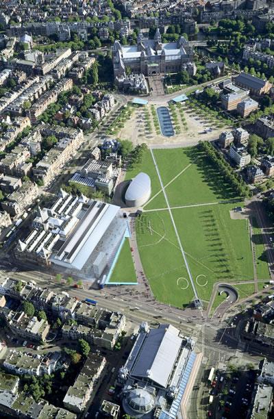 <p><strong>4.</strong> Müzenin kuşbakışı görünümü<br />   Fotoğraf: Jannes Linders,  Kaynak: Benthem Crouwel Architects.</p>
