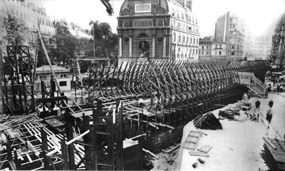 4. Saint Michel Meydanı ve Rue Danton arasındaki metro inşaatı, Paris 1906
