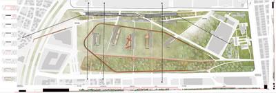 <p><strong>4.</strong> A06 rumuzlu projede Dokuma Fabrika yarışma alanıyla  Dokuma fabrikası alanının birlikte ele alınışı, Pil Fabrikası alanının dışarıda  tutulması<br /> Kaynak: URL1.</p>