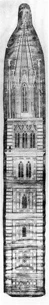 <p><strong>4.</strong> Robin Evans ın <em>Translations from Drawing to Building and Other Essays</em> kitabından  (1997, s.168) 1334 sonrasına kayıtlara geçen bir görünüş çizimi, the Campanile,  Santa Maria del Fiore, Floransa.</p>
