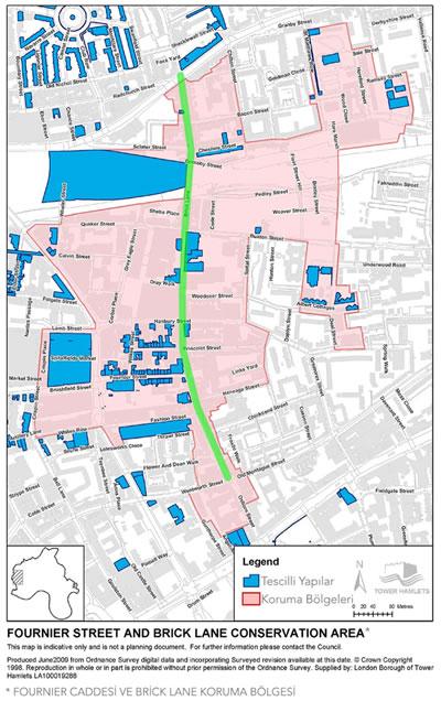 <p><strong>4.</strong> Fournier Caddesi ve Brick Lane koruma alanını gösteren  harita<br /> Kaynak: URL 2.,  s.3.</p>