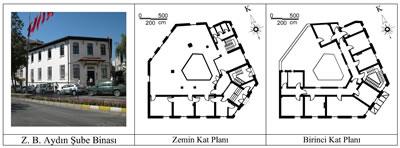 <p><strong>4.</strong> Ziraat Bankası Aydın Şube Binasının fotoğrafı ve kat  planları<br />   Kaynak:  Fotoğraf yazara aittir, planlar ise Asmira Mimarlık firmasının hazırlamış  olduğu restitüsyon projesi esas alınarak yazar tarafından düzenlenmiştir.</p>