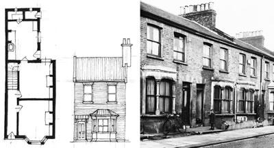 <p><strong>4. </strong>Tipik bir İngiliz  sıra evinin plan, cephe ve görünüşü</p>