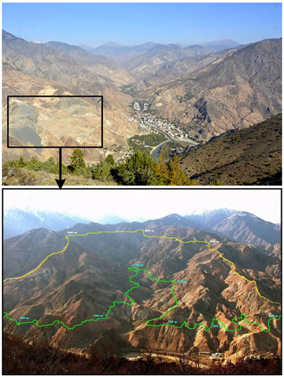 """<p><strong>4.</strong> Yusufeli yeni yerleşim yeri (yeşil  çizgi 720 m deki baraj maksimum su kotu ile yeni yerleşim yeri alt kot  sınırını, sarı çizgi ise 720-950 m arasındaki yeni yerleşim yerinin maksimum üst  kot sınırını göstermektedir) <br />Kaynak: Alttaki resim: """"Yusufeli Barajı ve Yeni Yerleşim Yeri"""", facebook.com/YusufeliBarajiYeniYerlesimYeri/photos/rpp.136880203128644/137040713112593/?type=3&theater [Erişim: 24.09.2017]"""