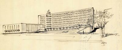 <p><strong>4.</strong> Dudok'un Belediye Sarayı için İzmirde yaptığı 15 Şubat 1954 tarihli eskiz<br />   Kaynak: Stadsschouwburg  Izmir Turkije (ontwerp W.M. Dudok), NAi/DUDO 195K.34, 195M.101, Het Nieuwe  Instituut, Rotterdam.</p>