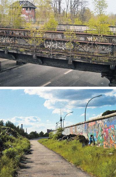 <p><strong>4.</strong> Dördüncü tip doğa:  kent içinde atıl kalmış demiryolu köprüsü ve Berlin Duvarı boyunca kendiliğinden  gelişen peyzaj, Berlin 2001<br />   Kaynak:  Cupers; Miessen, 2002, s.56, s.108</p>