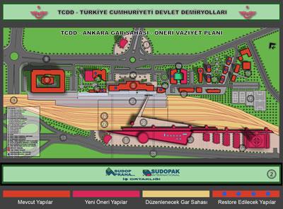 <p><strong>4.</strong> Ankara YHT Garı - Serdar  Akünal tasarımı ilk öneri<br />   <strong>L1:</strong> Ankara Gar Maydanı, <strong>L2:</strong> Ankara Gar Binası, <strong>L3:</strong> Gar Peronları, <strong>L4:</strong> Atatürk Müzesi, <strong>L5:</strong> Demiryolu Müzesi, <strong>L6:</strong> Kongre-Fuar  Merkezi, <strong>L7: </strong>TCDD Genel MD. Binası,  L8: Talat Paşa Bulvarı, L9: Demir Yolu Köprüsü, <strong>L10:</strong> C.Bayar Bulvarı, <strong>L11:</strong> Lokomotif Müzesi, <strong>L12:</strong> Spor  Sahaları, <strong>L13- L14</strong>:Lojmanlar, <strong>L15:</strong> CTC Binası, <strong>L16:</strong> Otel, <strong>L17:</strong> Hızlı  Tren Terminal Meydanı, <strong>L18:</strong> Hızlı  Tren Terminali, <strong>L19:</strong> İş Merkezi  Kompleksi, <strong>L20:</strong> Hızlı Tren Terminali  Üst Platformu, <strong>L21: </strong>Altta AVM  (1.Bodrum), <strong>L22: </strong>Altta Kapalı  Otopark (2.Bodrum),<strong> L23:</strong> Yeni Metro  Bağlantısı Alt Geçiti</p>