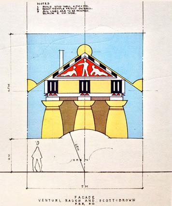 <p><strong>4.</strong> Robert Venturi, John Rauch ve Denise Scott Brown tarafından Strada Novissima  için tasarlanan cephe.<br />  Kaynak: 1980, <strong>Venice Architecture Biennale Catalogue</strong>,  s.48.<strong></strong></p>