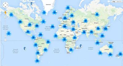 <p><strong>4.</strong> Archdaily arşivinde yayımlanmış yapılar  ve coğrafi konumları<br />Kaynak: www.archdaily.com/map/ [Erişim: 26.08.2014]