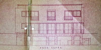 <p><strong>Resim  4. </strong>Bahçe cephesi  çizimi, Egli, 1935<br />  Kaynak: ABB Arşivi</p>
