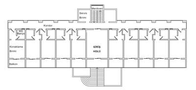 <p><strong>4.</strong> Sanatoryum'un plan  şeması<br /Kaynak: İç mimar Barış  Manav'ın rölövesi kullanılarak Korhan Cengiz tarafından hazırlanmıştır.</p>>