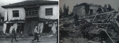 <p><strong>4. </strong>1971 depreminde hasar  gören köy evlerinden biri <br />  Kaynak: (soldaki)  Keightley, W.O., 1975, <strong>Destructive  Earthquakes in Burdur and Bingöl, Turkey-May 1971</strong>, National Research  Council, Natural Academy of Sciences, Washington D.C., s.44. (sağdaki)  Tezcan, Semih, Muzaffer İpek, Enver Altınok, 1971, &ldquo;12 Mayıs 1971 Burdur  Depremi&rdquo;, <strong>Burdur ve Bingöl Depremleri</strong>,  Çeltüt Matbaacılık, s.26.</p>