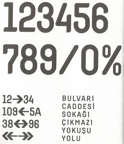 <p><strong>4.</strong> Bülent Erkmen ve Aykut Köksal  tarafından 2007 yılında tasarlanan sokak levhalarının tipografisi.<br />  Kaynak: <strong>İstanbulu Tabeladan Okumak sergi  kitapçığı</strong>, Garanti Galeri</p>