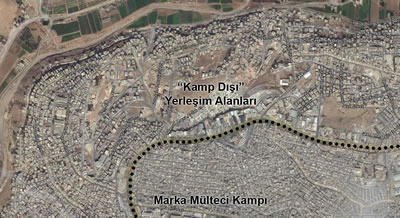 <p><strong>4. </strong>Marka mülteci kampı /  Yolun batı tarafında kalan yoğun dokulu alan kamp, yolun doğu tarafında kalan  görece gevşek dokulu yer yeni yerleşim alanları.<br />  Kaynak: Bing Harita</p>