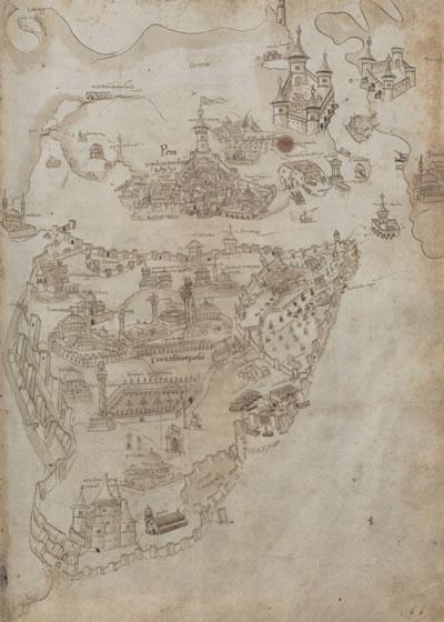 <p><strong>4. </strong></a> 1481 tarihli Buondelmonti haritası<br />Kaynak:  Düsseldorf, Üniversite ve Eyalet Kütüphanesi, Ms. G. 3, fol. 54r. </p>