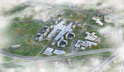 <p>Yapımı devam eden Bilkent Şehir  Hastanesinin yerleşim planı</p>