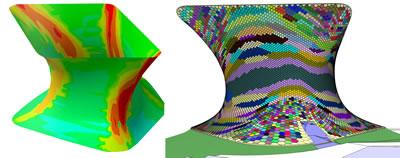 <p><strong>4.</strong> Soumaya Müzesi, altıgen alt parçaların oluşturulma  süreci: Gauss analizi ve gruplanmış panellerin yüzey üzerindeki dağılımı.<br />Kaynak: www.issuu.com/gehrytech/docs/sou_06_issuu_version/17 [Erişim: 05.03.2015]