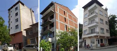 <p><strong>4.</strong> Kentsel Sit  Alanının batı kısmında inşa edilmiş / edilmekte olan oran, ölçek ve gabari  açısından dokuya uyumsuz yapılara ilişkin örnekler <br />  Kaynak:  Elif Aydın / KOÜ BAP, 2015 proje arşivi</p>