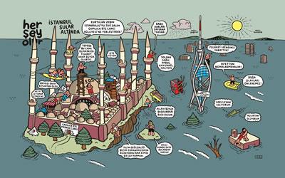 <p><strong>4.</strong> İstanbulda  gerçekleşen 2012 yılındaki başka bir sel felaketi ardından yapılan çizim,  karikatürist: Cem Dinlenmiş<br /> Kaynak: Temmuz 2012, <strong>Penguen</strong>, sayı:512. </p>