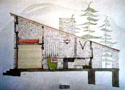 <p><strong>4b. </strong>Sadun Ersinin  öğrencilik döneminde yaptığı dağ evi projesinin çizimleri<br />Kaynak: Sadun Ersin arşivi<strong></strong></p>