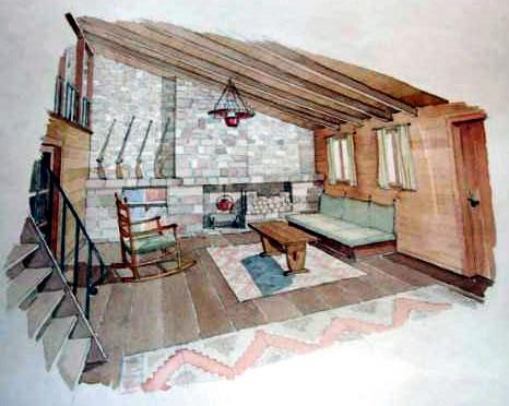 <p><strong>4c. </strong>Sadun Ersinin  öğrencilik döneminde yaptığı dağ evi projesinin çizimleri<br />Kaynak: Sadun Ersin arşivi<strong></strong></p>