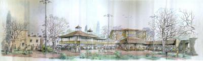 <p><strong>5.</strong> Sokullu  Vakfı Tesislerinin olduğu araziye tasarlanan Mihmandar Lokantası<br />   Kaynak: EYSAM arşivi</p>