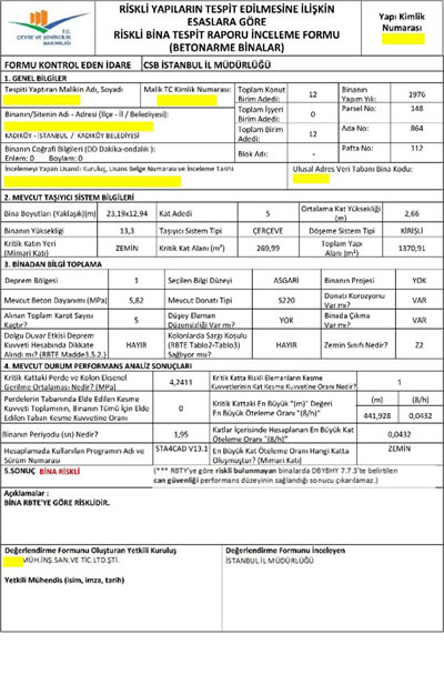 <p><strong>Resim 5.</strong> Riskli bina tespit raporu örnek inceleme formu<br /> Kaynak:  Çevre ve Şehircilik Bakanlığı, 2016</p>